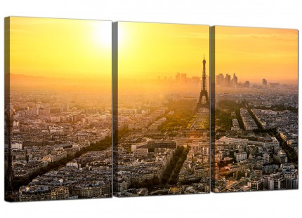 Paris Sunset Skyline Eiffel Tower Yellow City Canvas - Set of 3 - 125cm - 3153