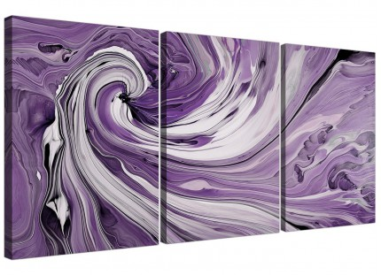 Modern Purple Grey White Swirls Abstract Canvas - 3 Piece - 125cm - 3270