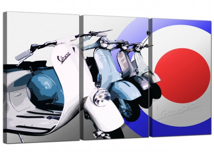 Modern Vespa Scooter Mod Soul Retro 60's Canvas - 3 Panel - 125cm - 3149