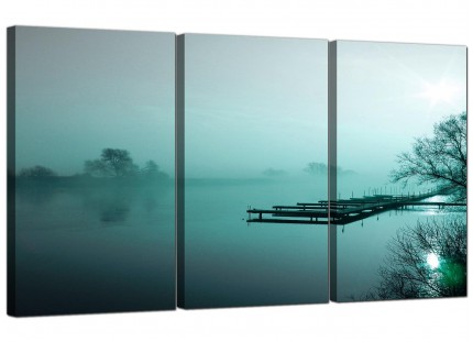Modern Teal Sunrise Jetty Lake View Landscape Canvas - 3 Part - 125cm - 3118
