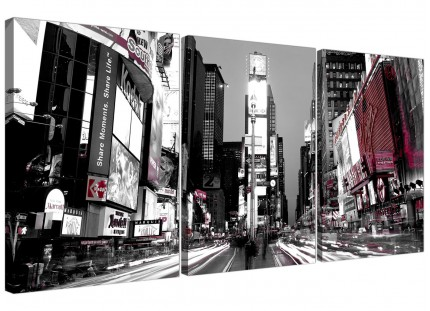 New York Times Square Red Black White Cityscape Canvas - Set of 3 - 125cm - 3213