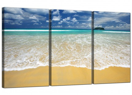 Modern Tropical Ocean Sandy Shore Scene Beach Canvas - Set of 3 - 125cm - 3043