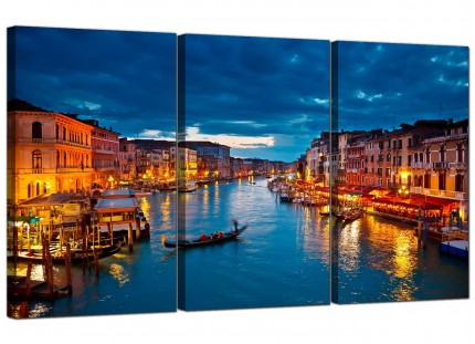 Modern Venice Italy Gondola Grand Canal Blue City Canvas - 3 Set - 125cm - 3068