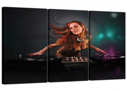 Modern Girl DJ Mixing Decks Clubbing Canvas - 3 Piece - 125cm - 3064