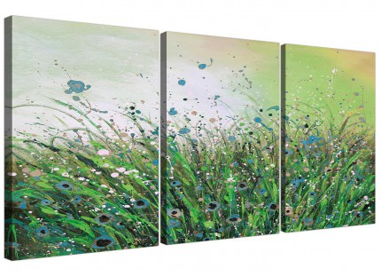 Modern Green White Flowers Abstract Floral Canvas - Set of 3 - 125cm - 3261