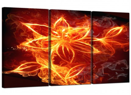 Modern Flaming Fire Flower Orange Black Abstract Canvas - 3 Set - 125cm - 3063