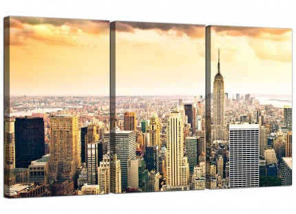 New York Manhattan Skyline Yellow Grey Cityscape Canvas - 3 Set - 125cm - 3201