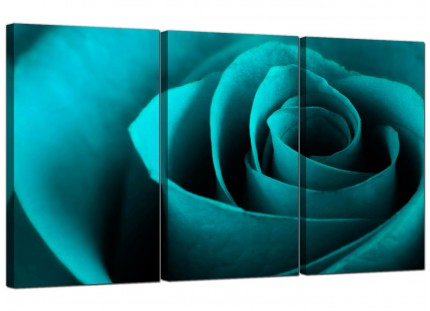 Teal Turquoise Blue Rose Petal Flower Floral Canvas - 3 Panel - 125cm - 3109
