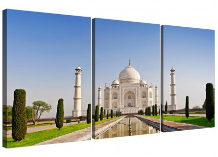 Modern Taj Mahal Landscape in Blue Canvas - 3 Panel - 125cm - 3203