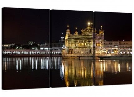 Modern Sikh Golden Temple Amritsar Night Canvas - Set of 3 - 125cm - 3195