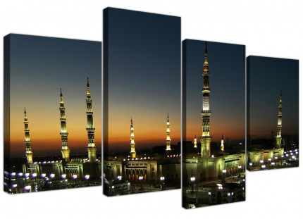 Al Masjid an Nabawi - Prophets Mosque Canvas - Multi 4 Part - 130cm - 4230