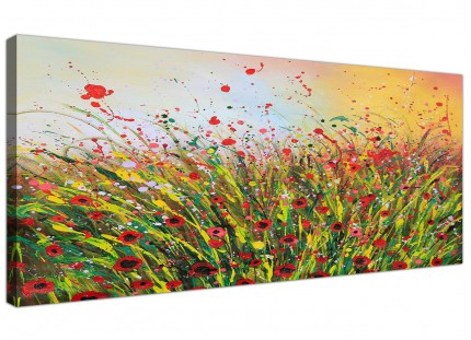 Large Modern Abstract Summertime Flowers Red Floral Canvas Prints - 120cm - 1262