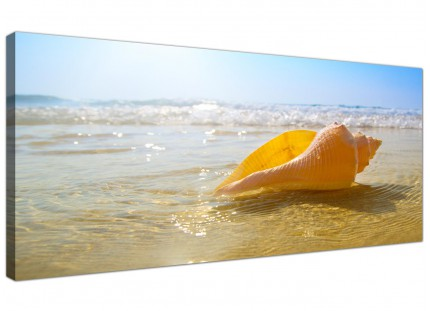 Large Yellow Blue Shells Landscape Bathroom Beach Canvas Art - 120cm - 1148