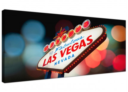 Large Las Vegas Strip Sign Gambling Cityscape Modern Canvas Art - 120cm - 1126