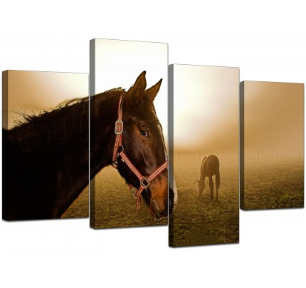 Brown Horse Mare and Foal Sunrise Canvas - Multi 4 Piece - 130cm - 4130