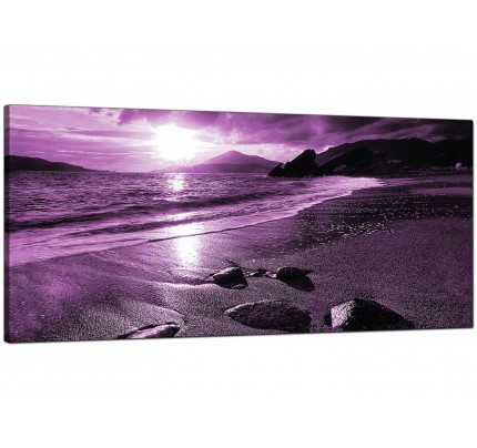 Large Purple Sunset Beach Scene Landscape Modern Canvas Art   120cm   1077