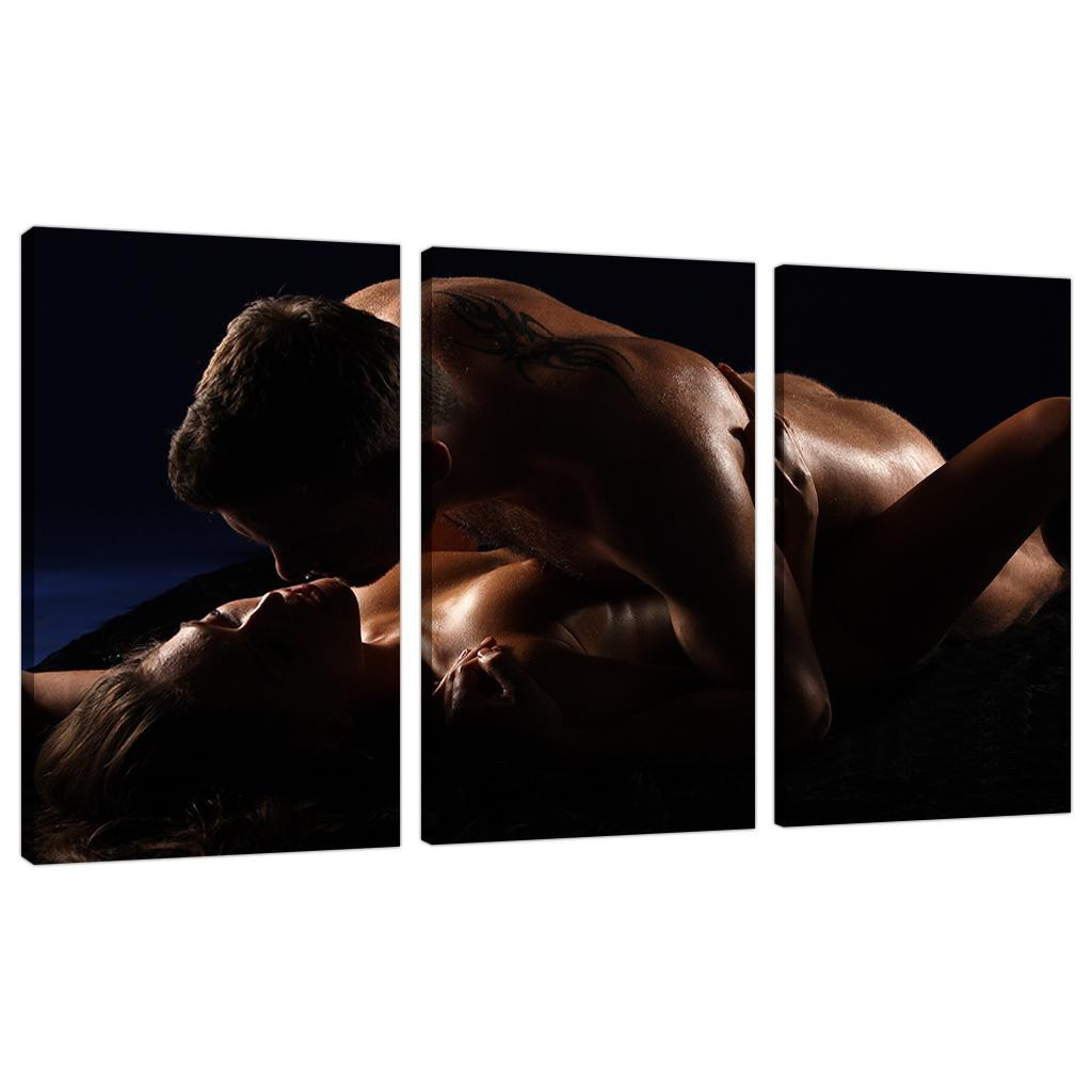 Sensual couple canvas prints 3 panel for your bedroom - Sensual paintings for the bedroom ...