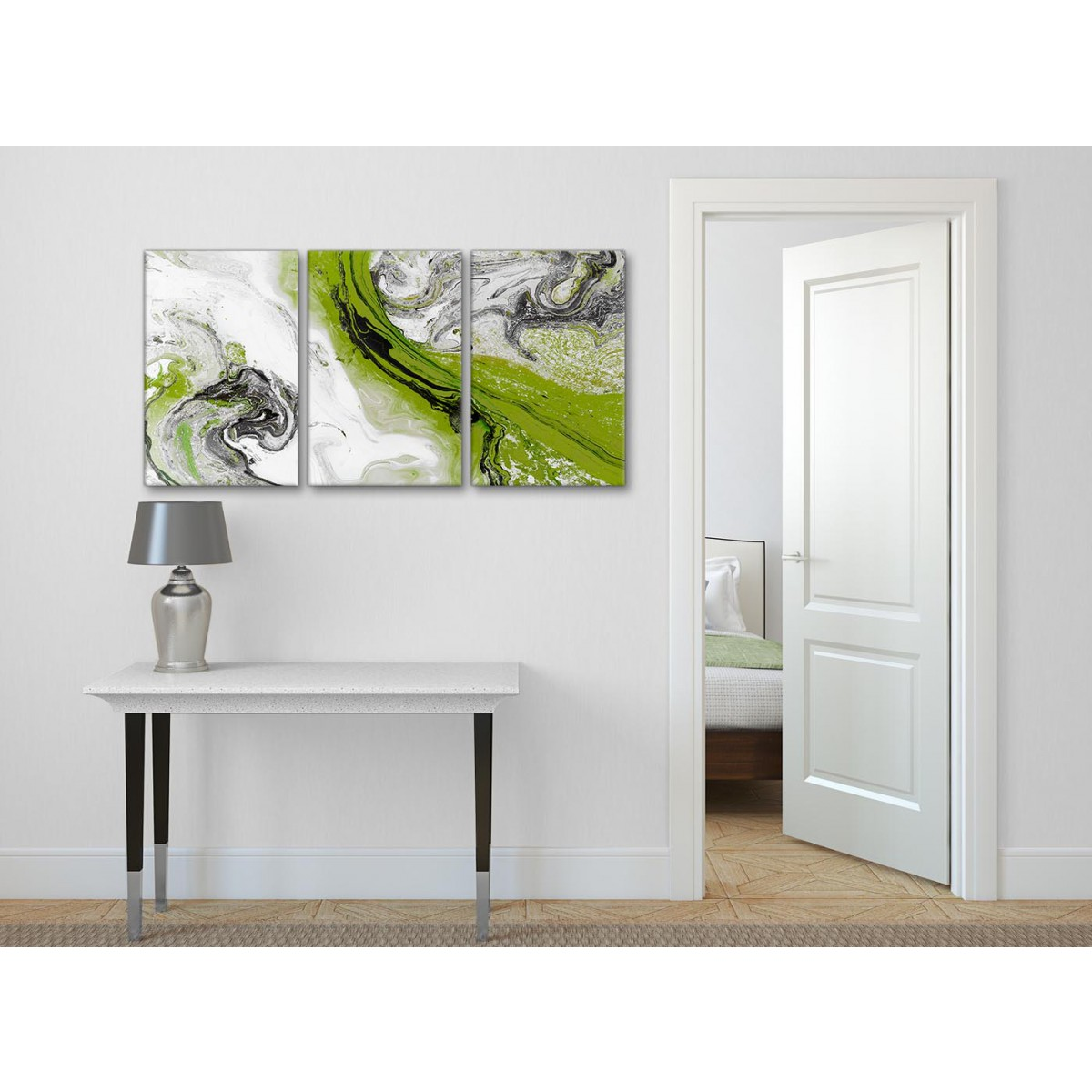 Lime green and grey swirl bedroom canvas pictures - Olive green and grey ...