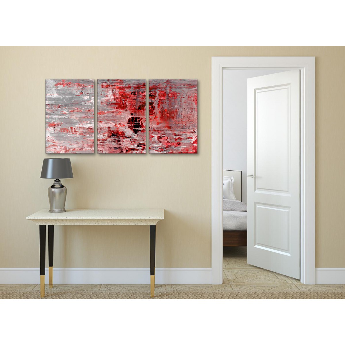 3 Piece Red Grey Painting Living Room Canvas Wall Art Decor
