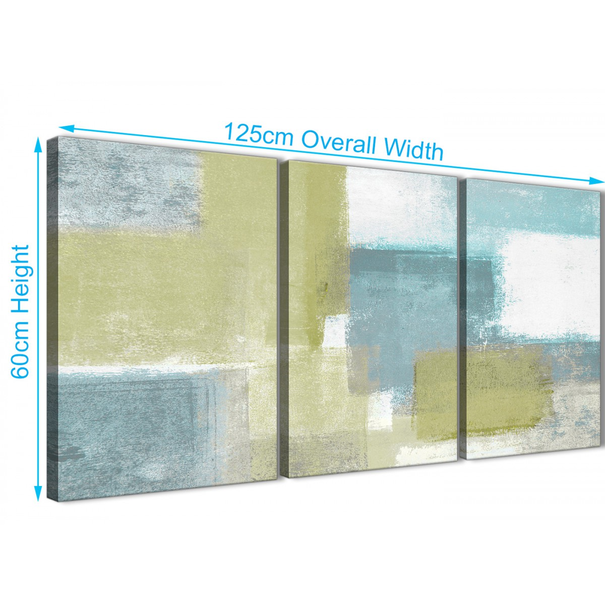 Lime Green Teal Abstract Painting Canvas Wall Art Print - Multi 3 ...