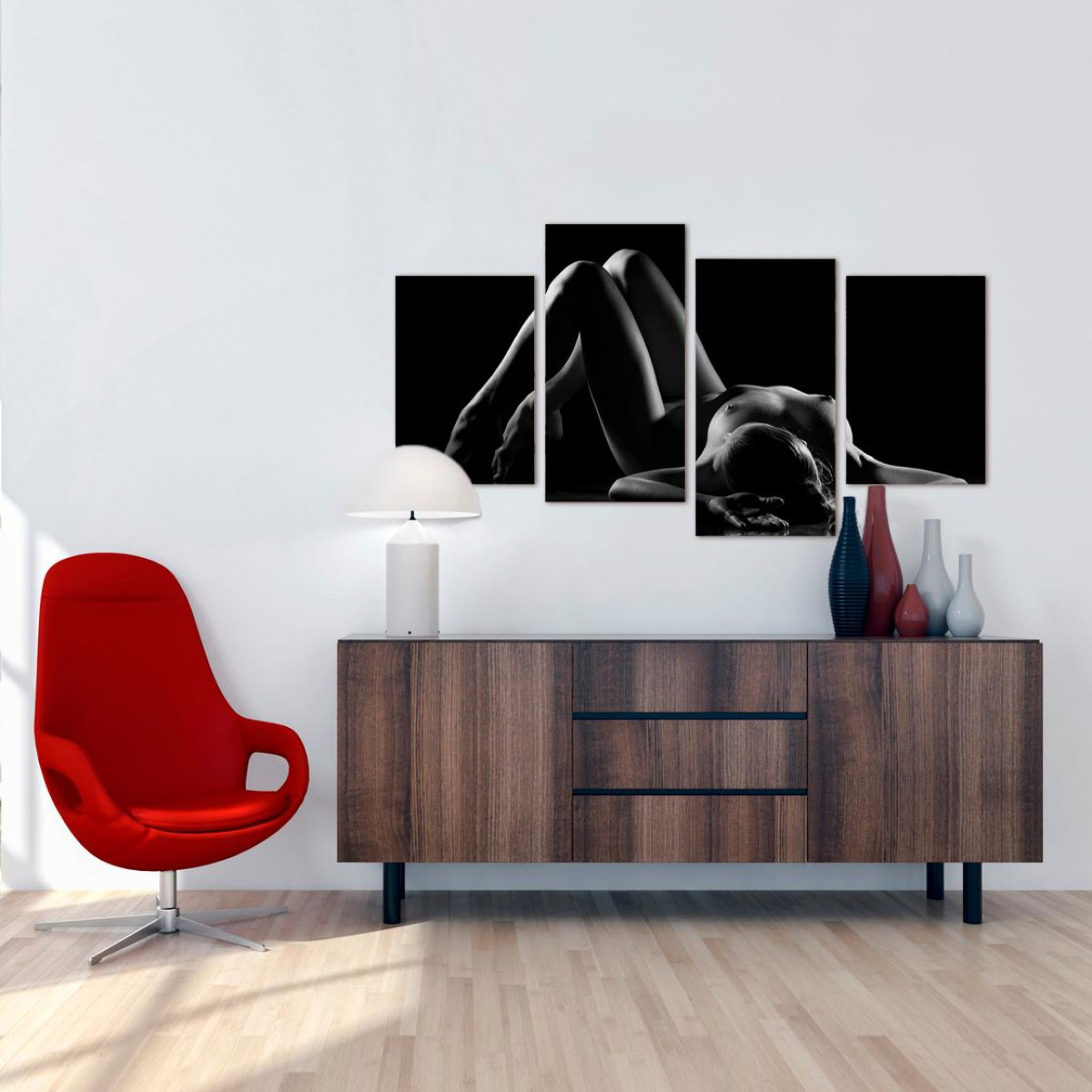 Bedroom Black White Woman Nude Erotic Canvas   Multi Set Of 4   130cm   4082