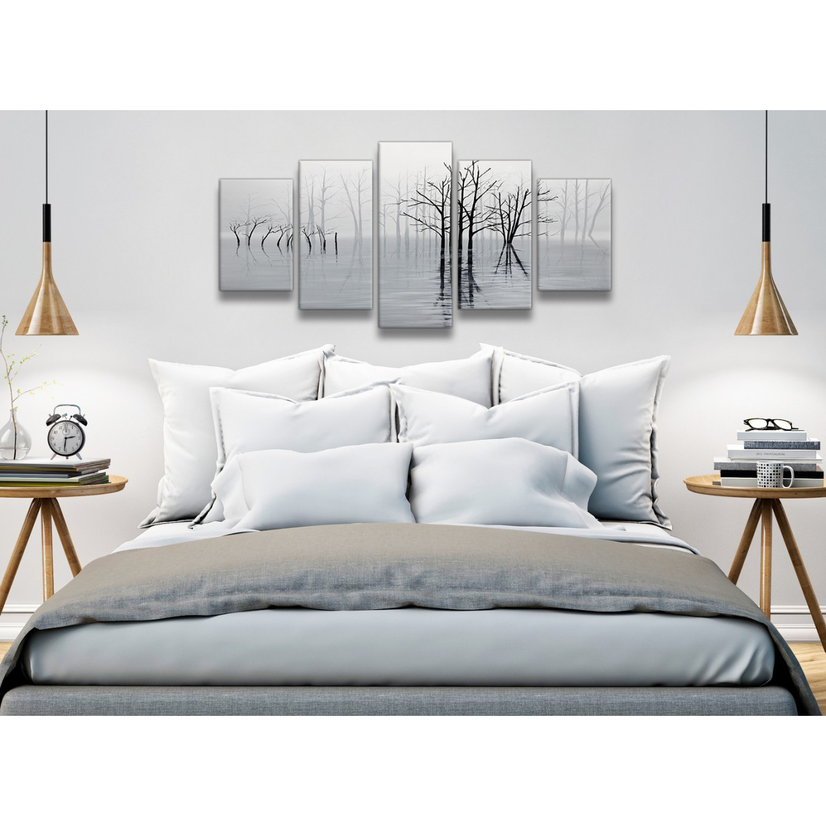 5 Panel Black White Grey Tree Landscape Painting Bedroom