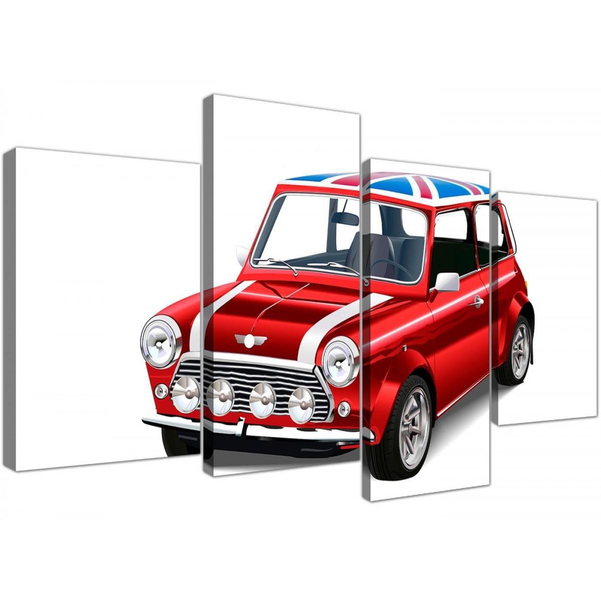 large mini cooper union jack canvas multi 4 panel 4277. Black Bedroom Furniture Sets. Home Design Ideas