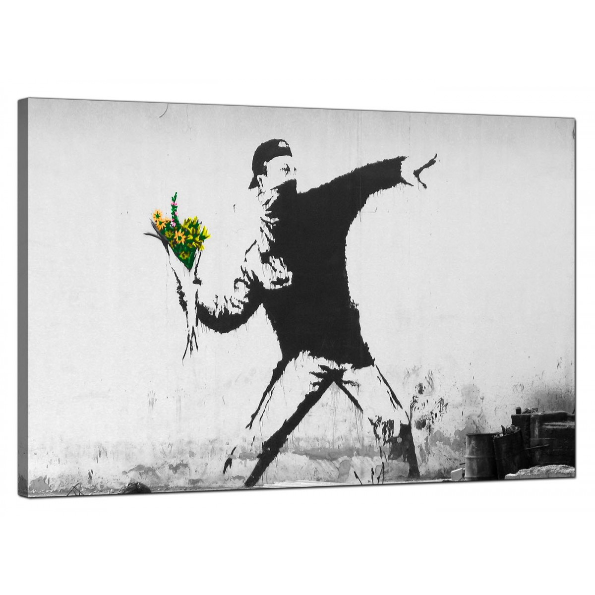 Banksy Canvas Pictures Rage Man Throwing Flowers Urban Art R L