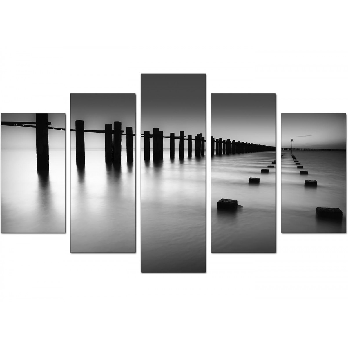 Extra large sea canvas prints 5 piece in black white for Black and white wall painting