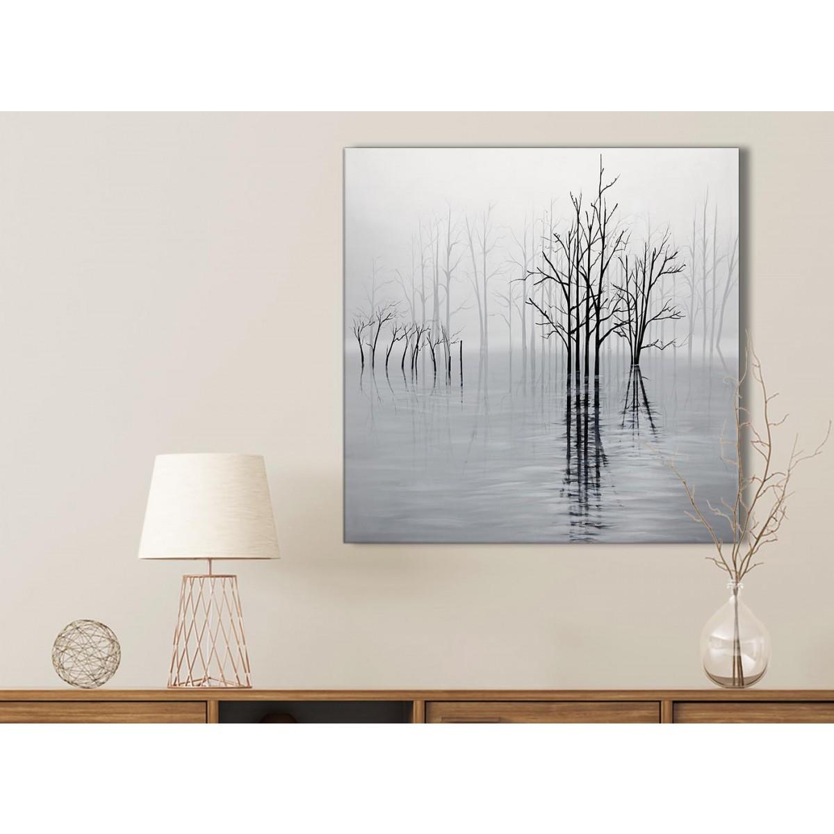 Black White Grey Tree Landscape Painting Kitchen Canvas