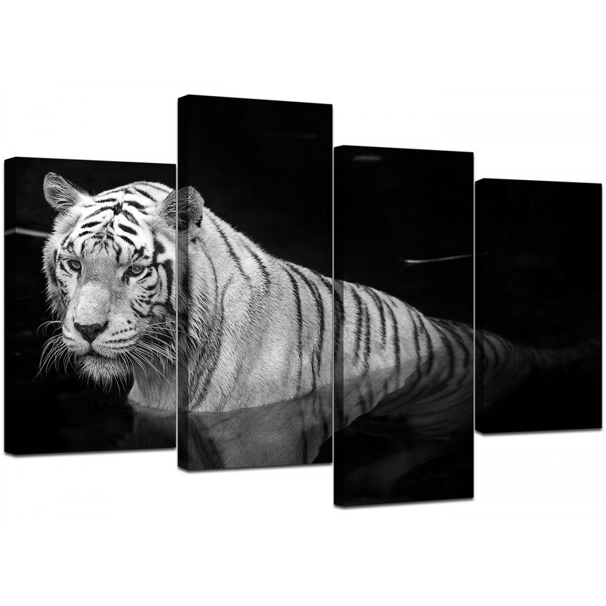 Black And White Tiger Canvas Wall Art For Bedroom