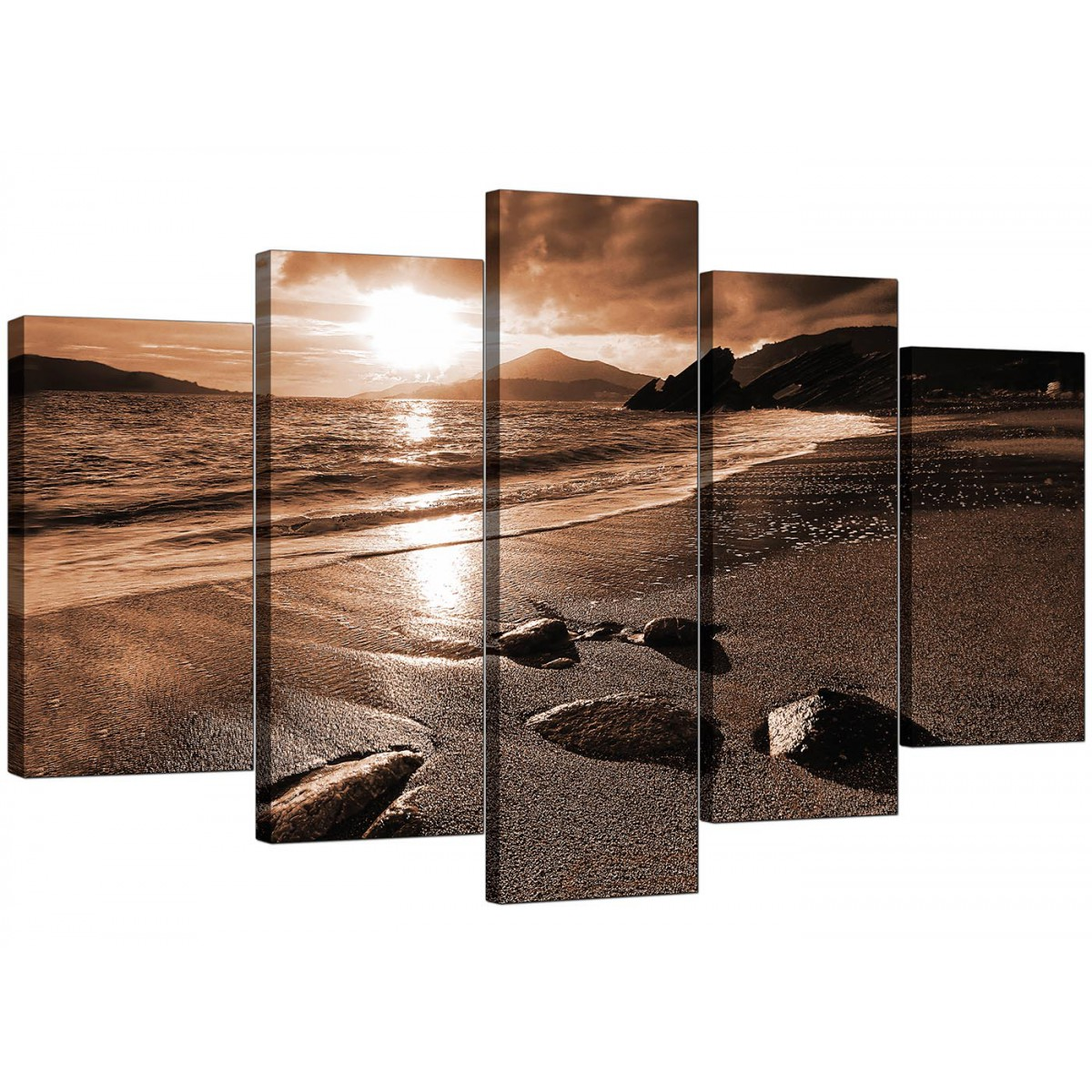 extra large beach canvas art five piece in brown. Black Bedroom Furniture Sets. Home Design Ideas