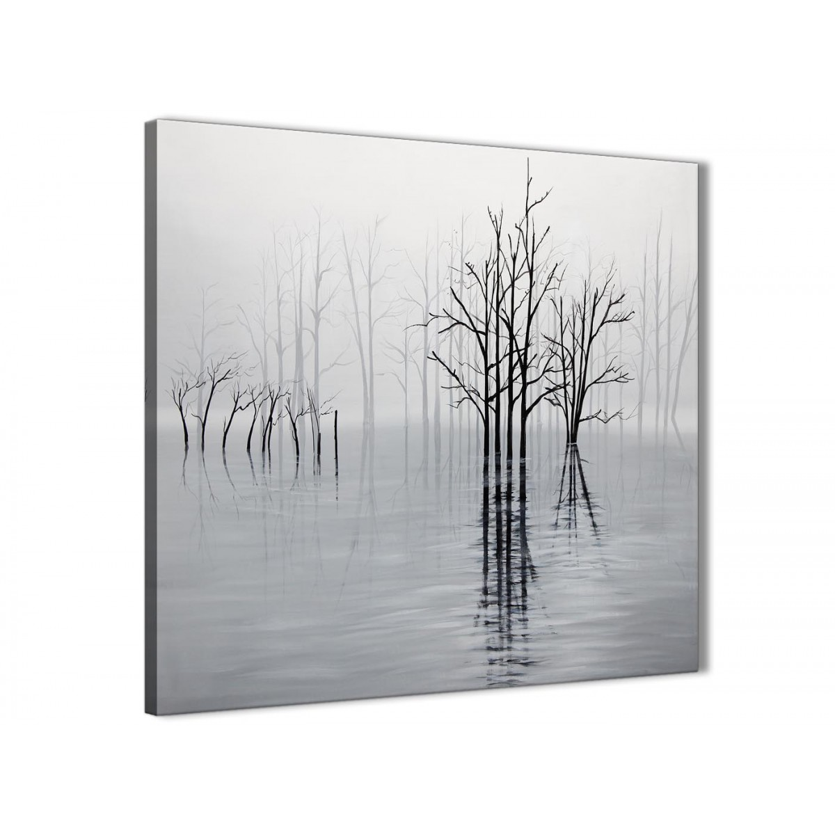 Bathroom Wall Art Uk Amazon: Black White Grey Tree Landscape Painting Kitchen Canvas