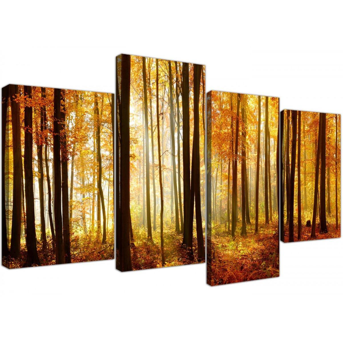 Black & White Orange Forest Trees Canvas Print Wall Art