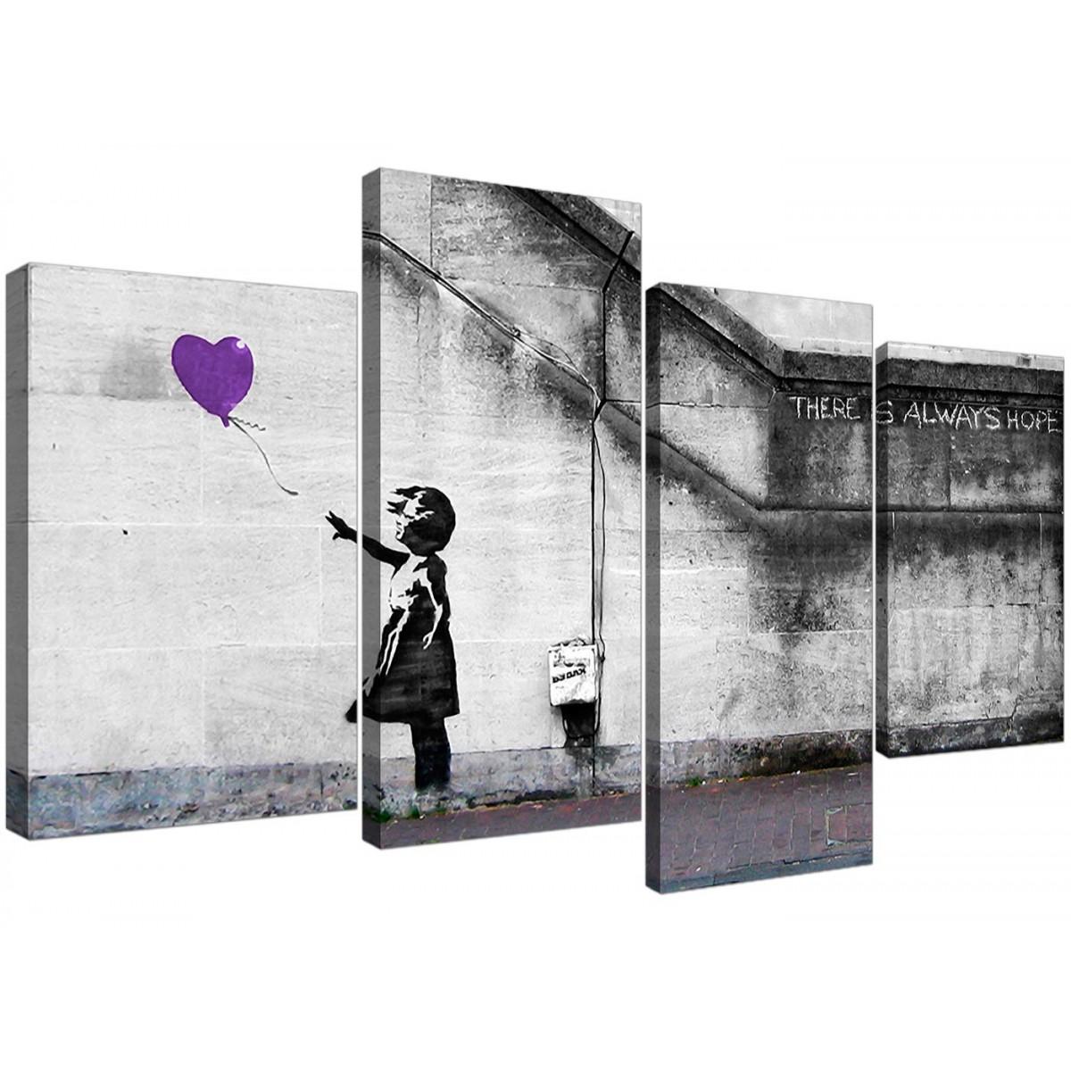 Purple Banksy Balloon Girl Canvas Art 130cm X 67cm