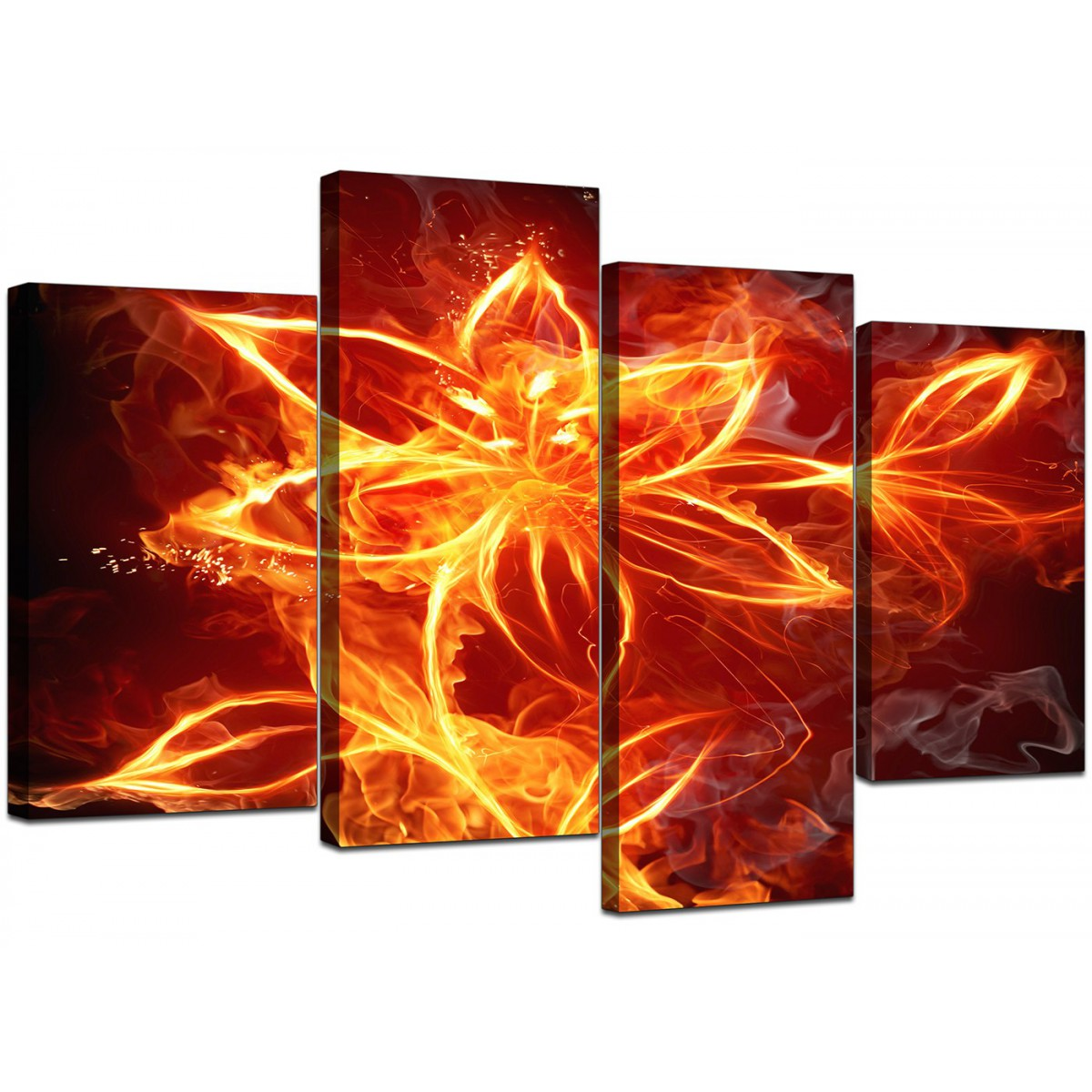 Flaming Fire Flower Orange Black Abstract Canvas Multi 4 Panel 130cm 4063
