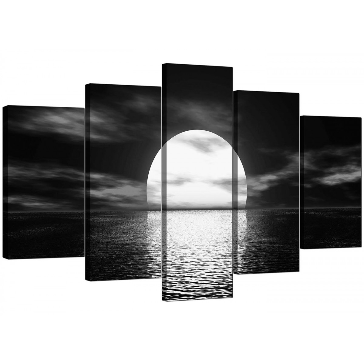 Extra Large Sunset Canvas Prints UK Set of Five in Black ...