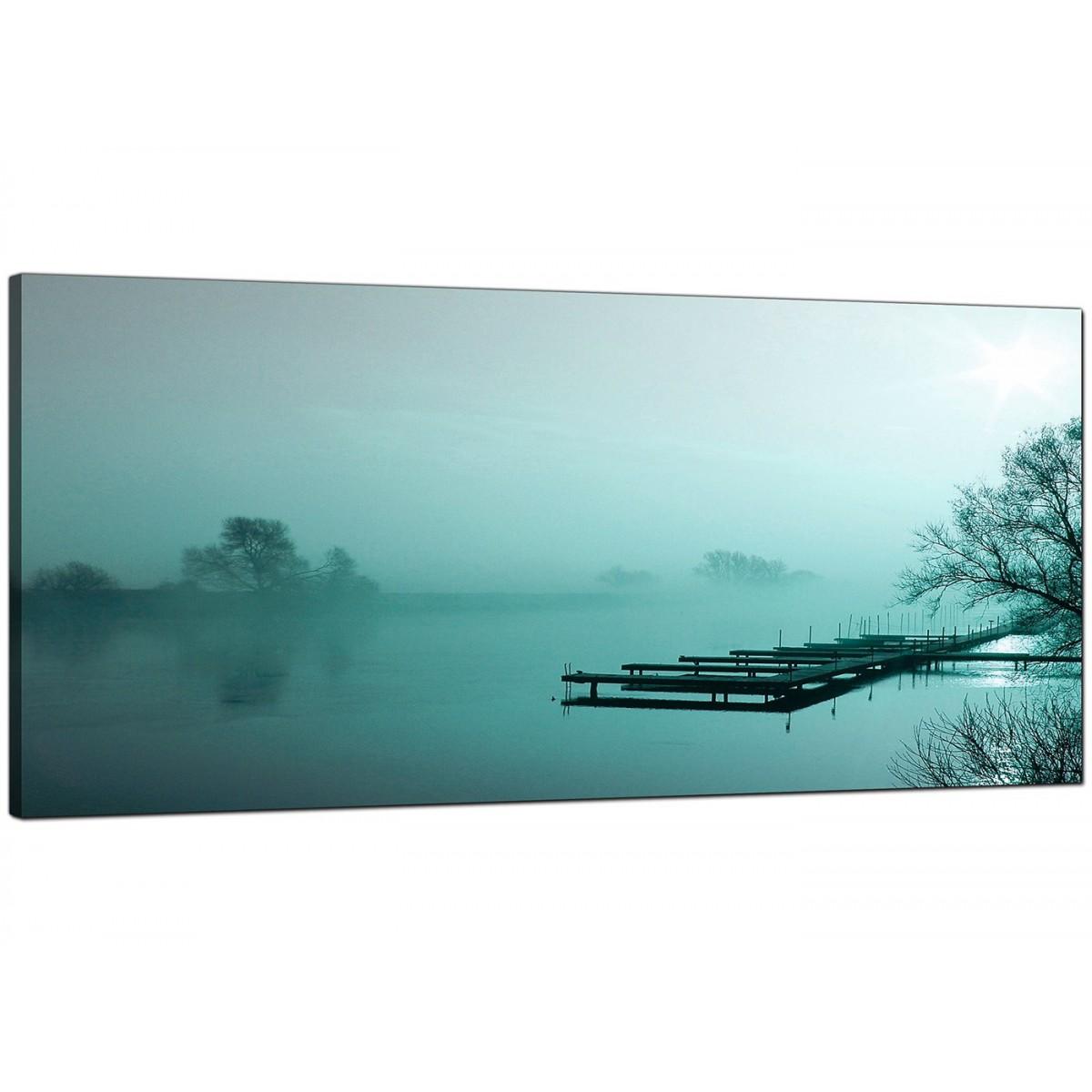 large teal canvas art of a river landscape