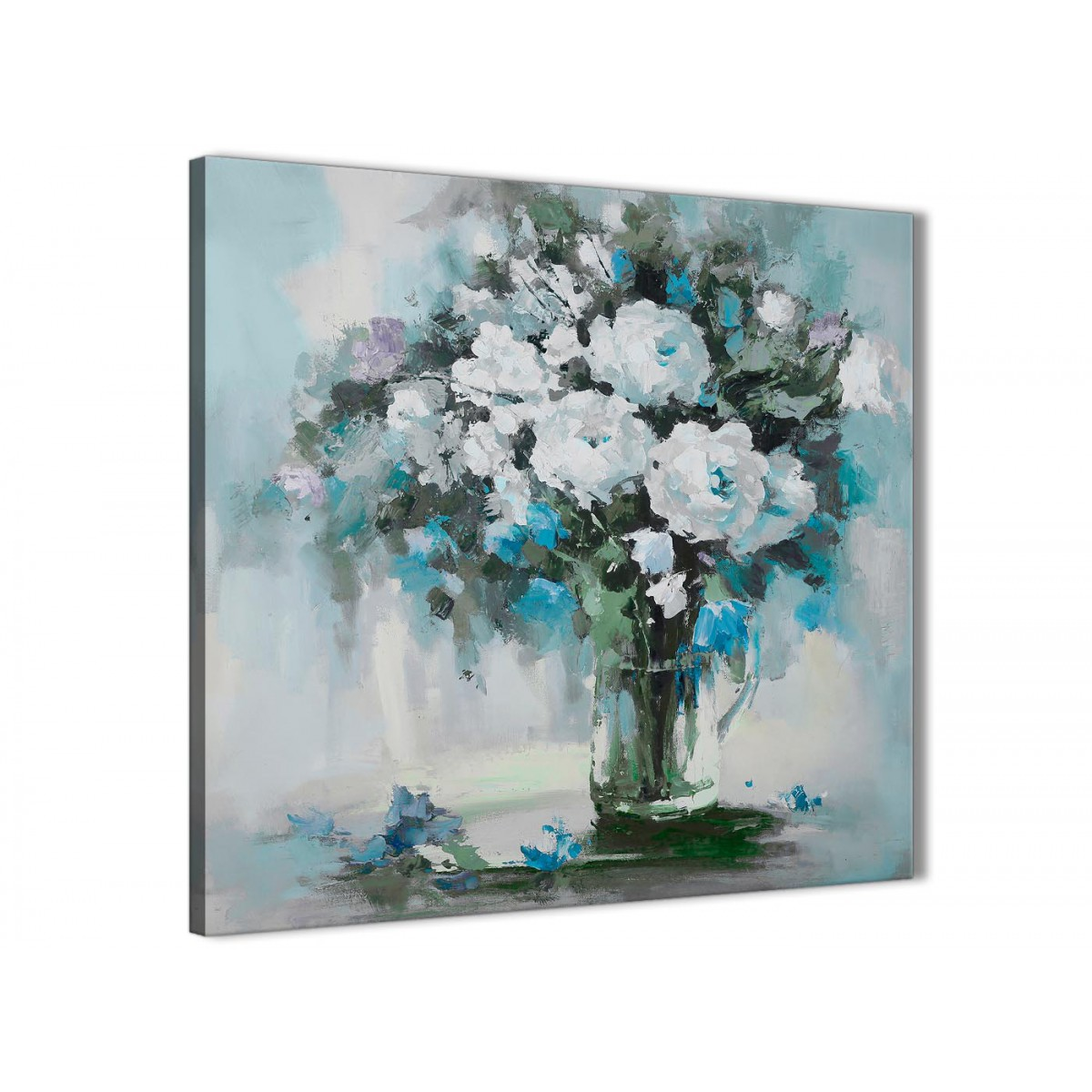 Teal White Flowers Painting Bathroom Canvas Wall Art