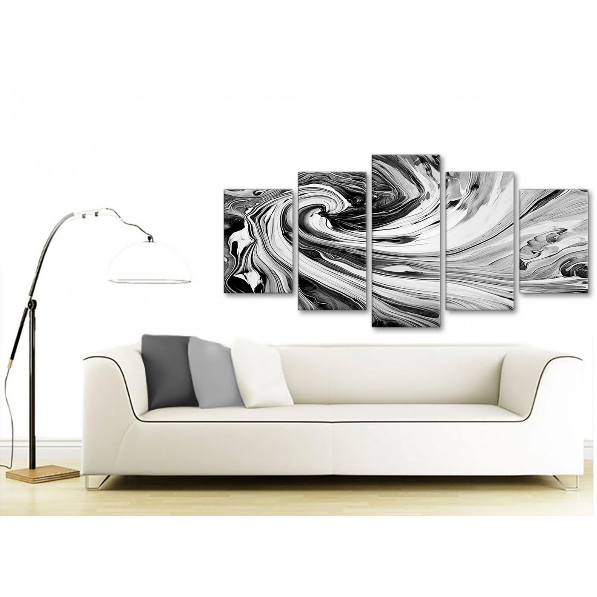 Large ABSTRACT Art Picture Cream Grey White Wall Check Canvas Print Multi