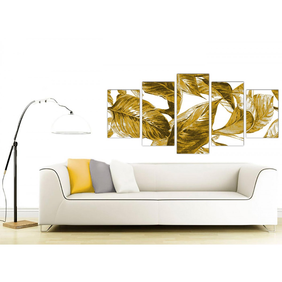 Extra Large Mustard Yellow White Tropical Leaves Canvas