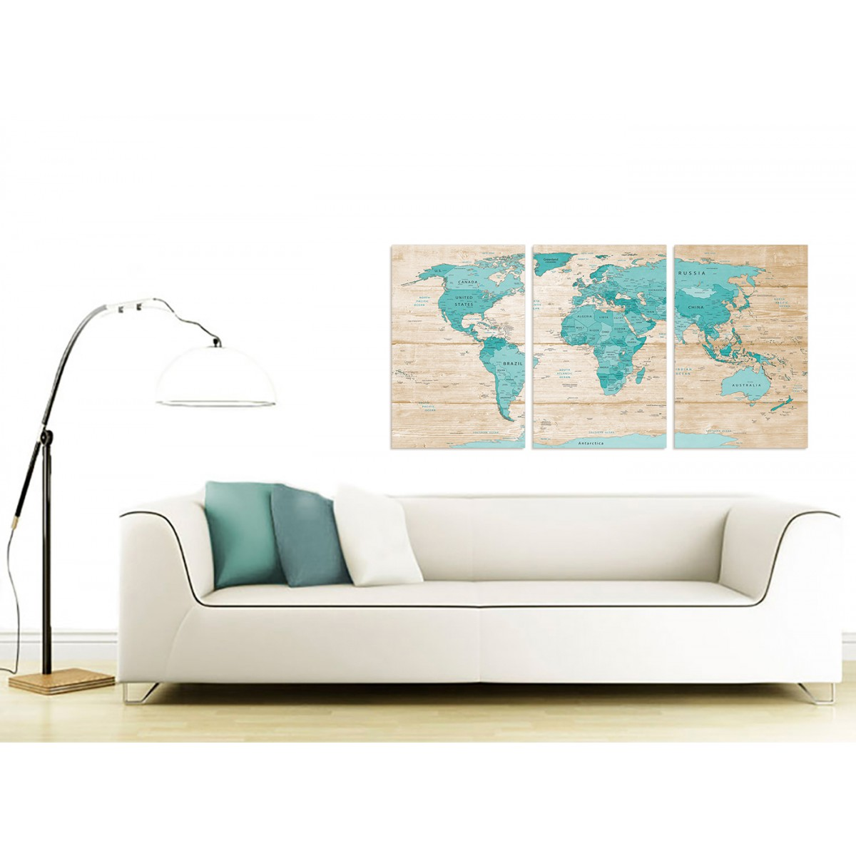 3313 Large Teal Cream Map of World Atlas Canvas Wall Art Prints Multi 3 Set