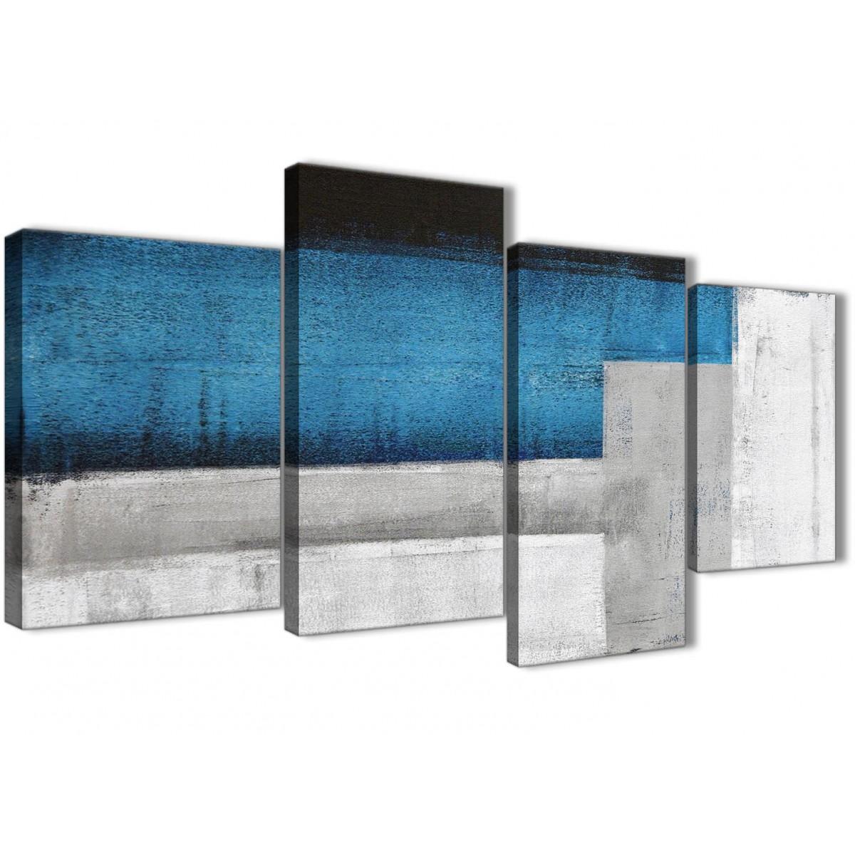 Bedroom Canvas Wall Art Uk: Large Blue Grey Painting Abstract Bedroom Canvas Wall Art