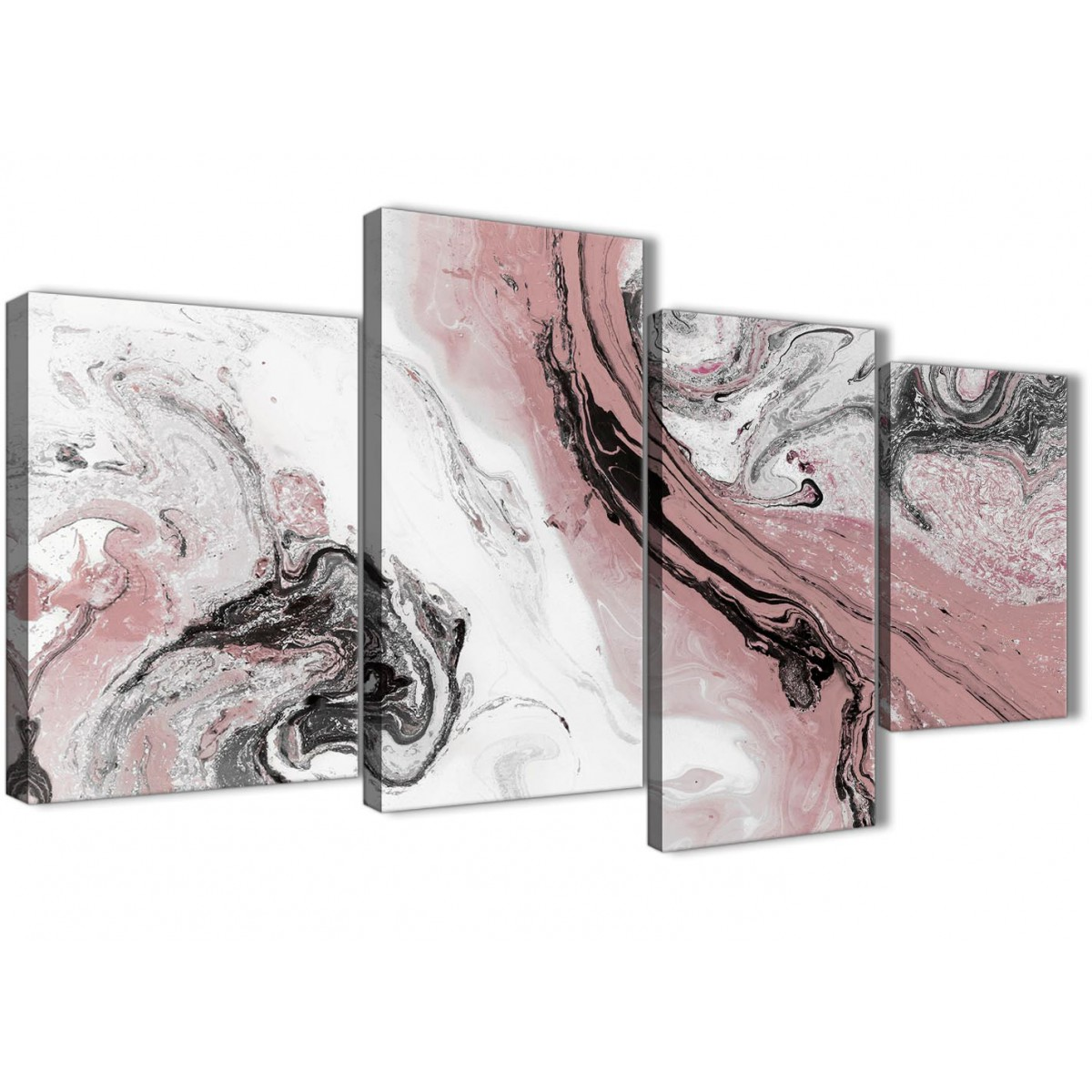 Large Blush Pink and Grey Swirl Abstract Bedroom Canvas ...