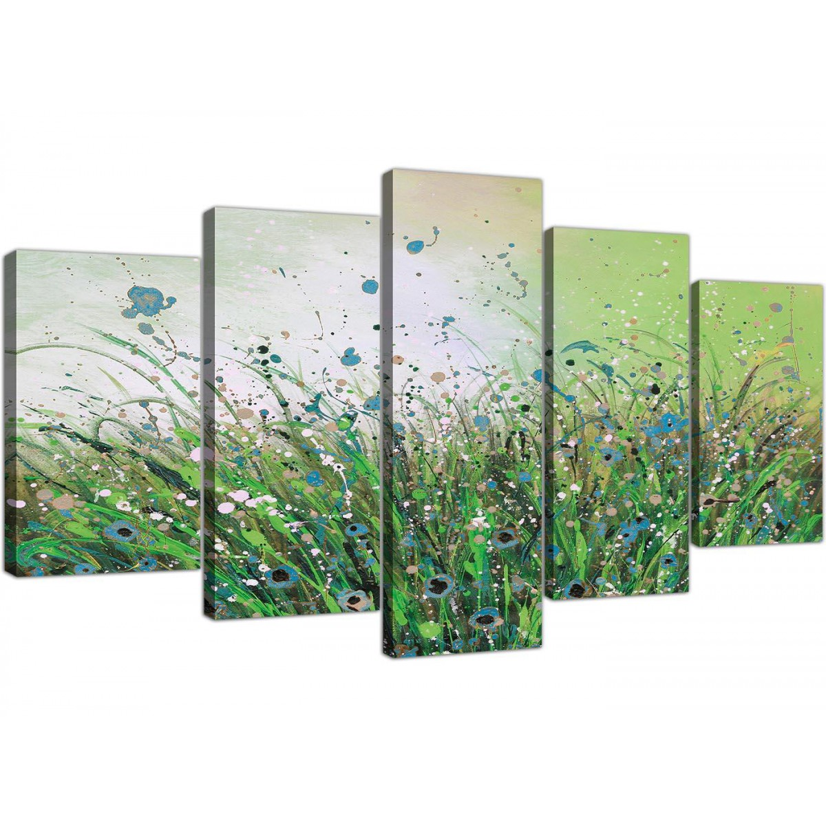 Extra Large Floral Abstract Canvas Wall Art In Green
