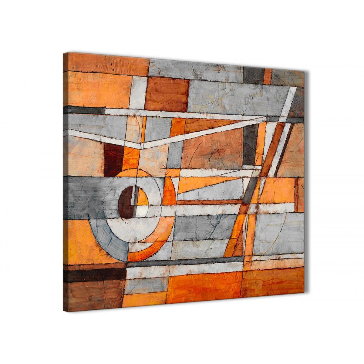 Burnt Orange Grey Painting Living Room Canvas Wall Art