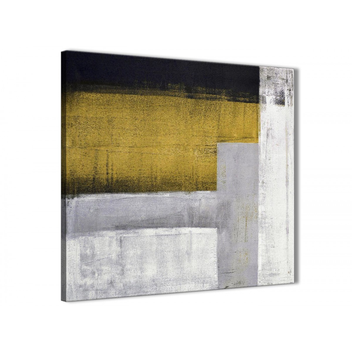 Mustard Yellow Grey Painting Living Room Canvas Wall Art