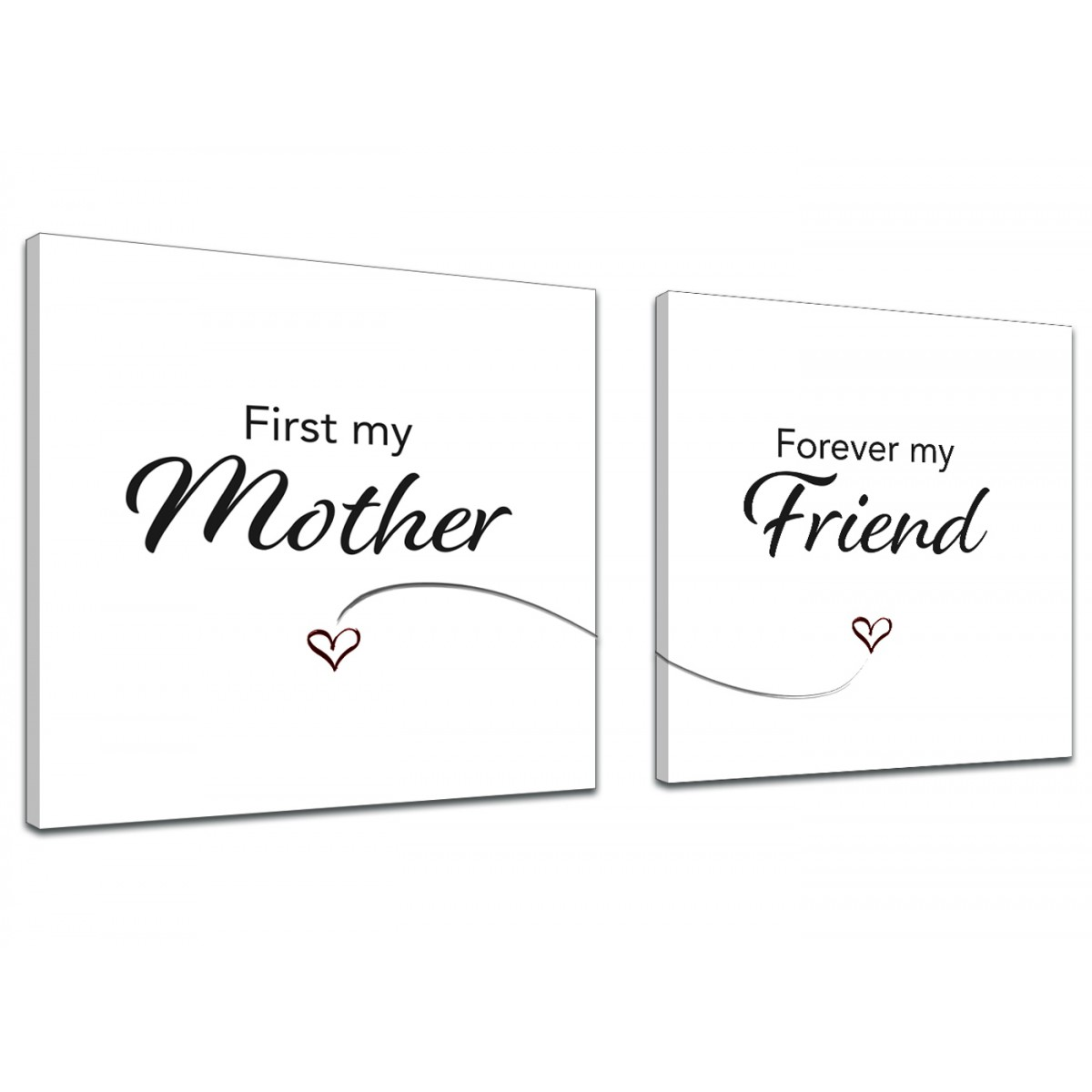 Canvas Prints Mum - Word Art Quote - 2s481s Black and White - Pair of 49cm  Square Wall Art