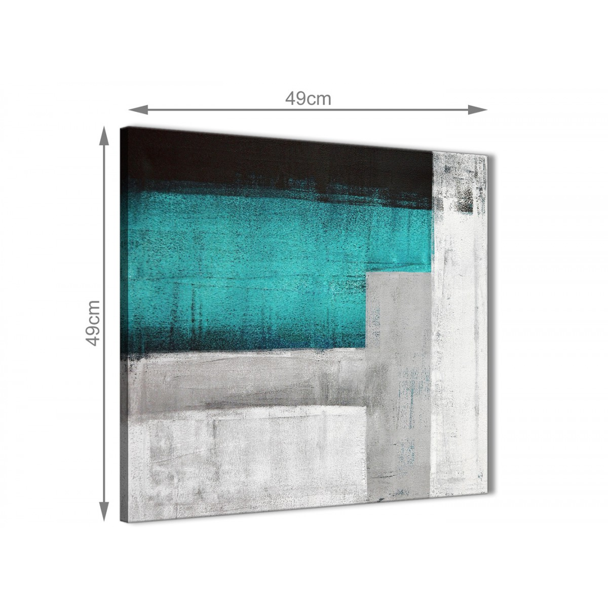 Teal Turquoise Grey Painting Bathroom Canvas Wall Art