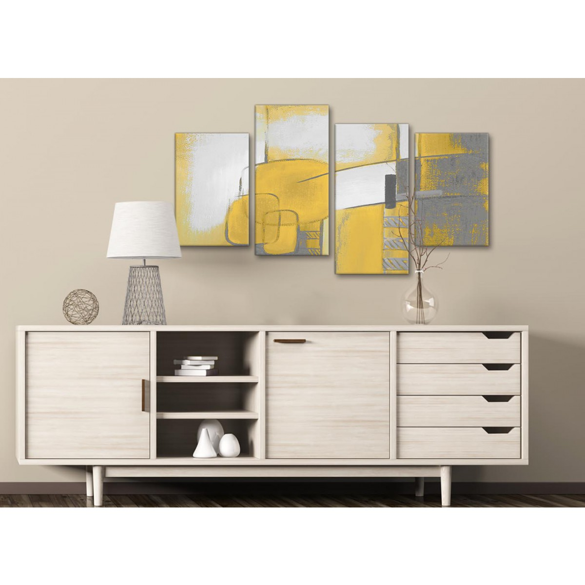 Large Mustard Yellow Grey Painting Abstract Bedroom Canvas Pictures Decor 4419 130cm Set Of